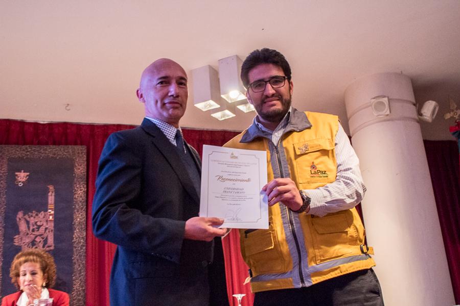 Reconocimiento a UNIFRANZ del Gobierno Autónomo Municipal de La Paz